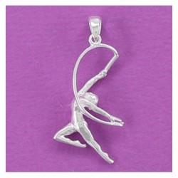 Colgante rítmica plata,  gimnasta con cuerda.