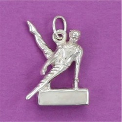 Colgante plata , gimnasta Potro con Arcos